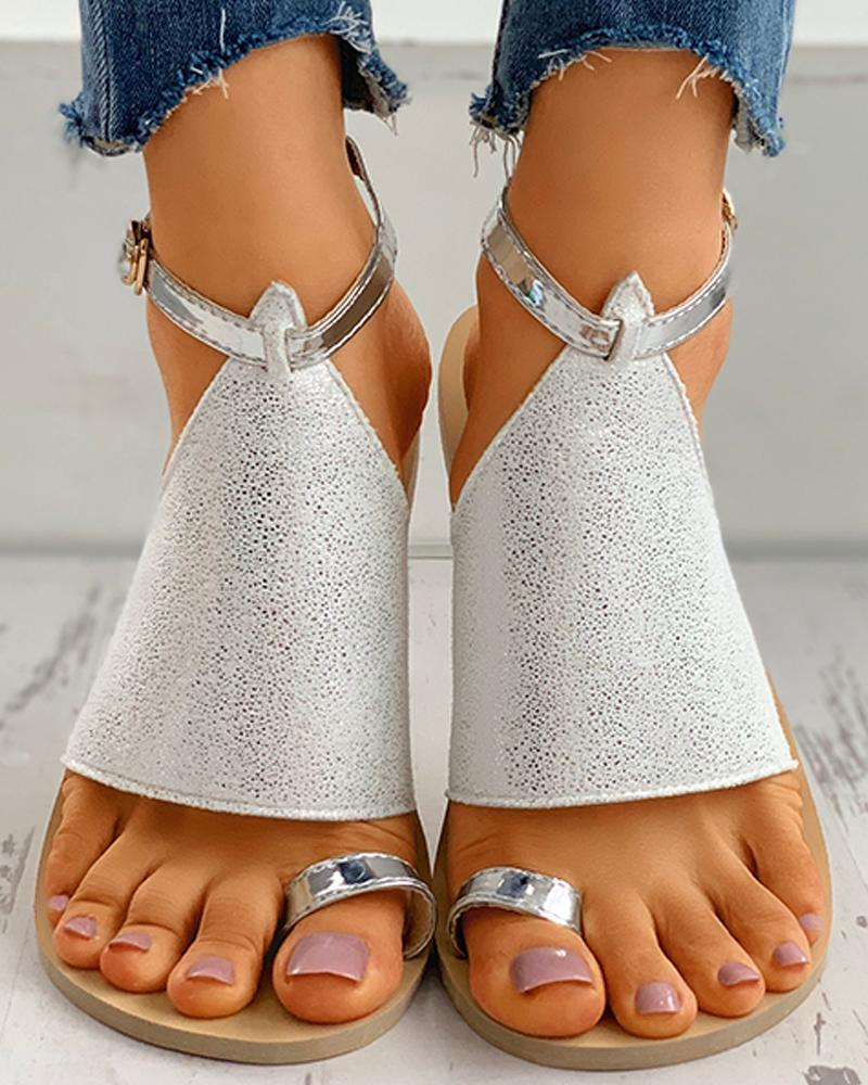 Glitter Toe Ring Anke Strap Flat Sandals thumbnail