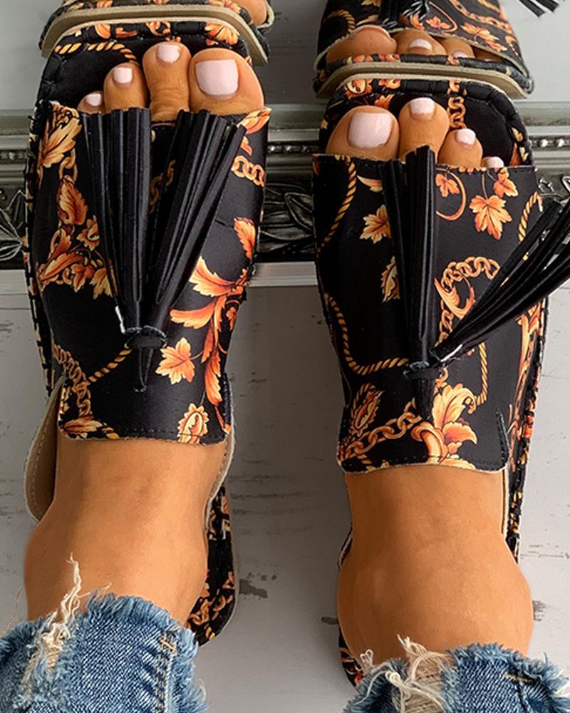 Scarf Print Tassel Design Square Toe Flat Sandals, Black