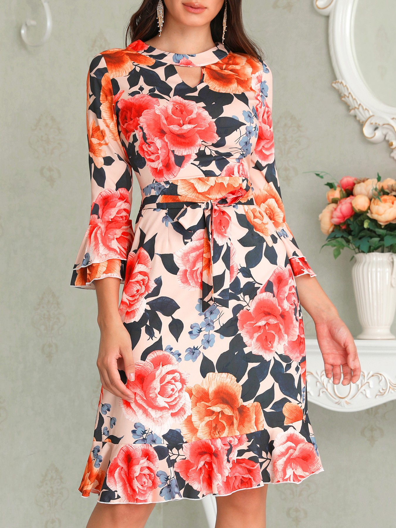 boutiquefeel / Floral Print Cutout Ruffles Flared Sleeve Casual Dress