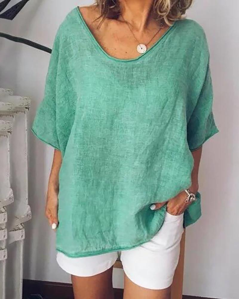 Solid Color Casual Loose Top thumbnail