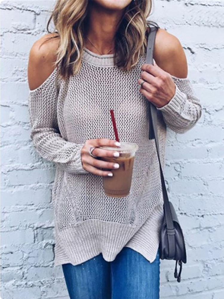 Ivrose coupon: Trendy Open Shoulder Loose Knitted Sweater