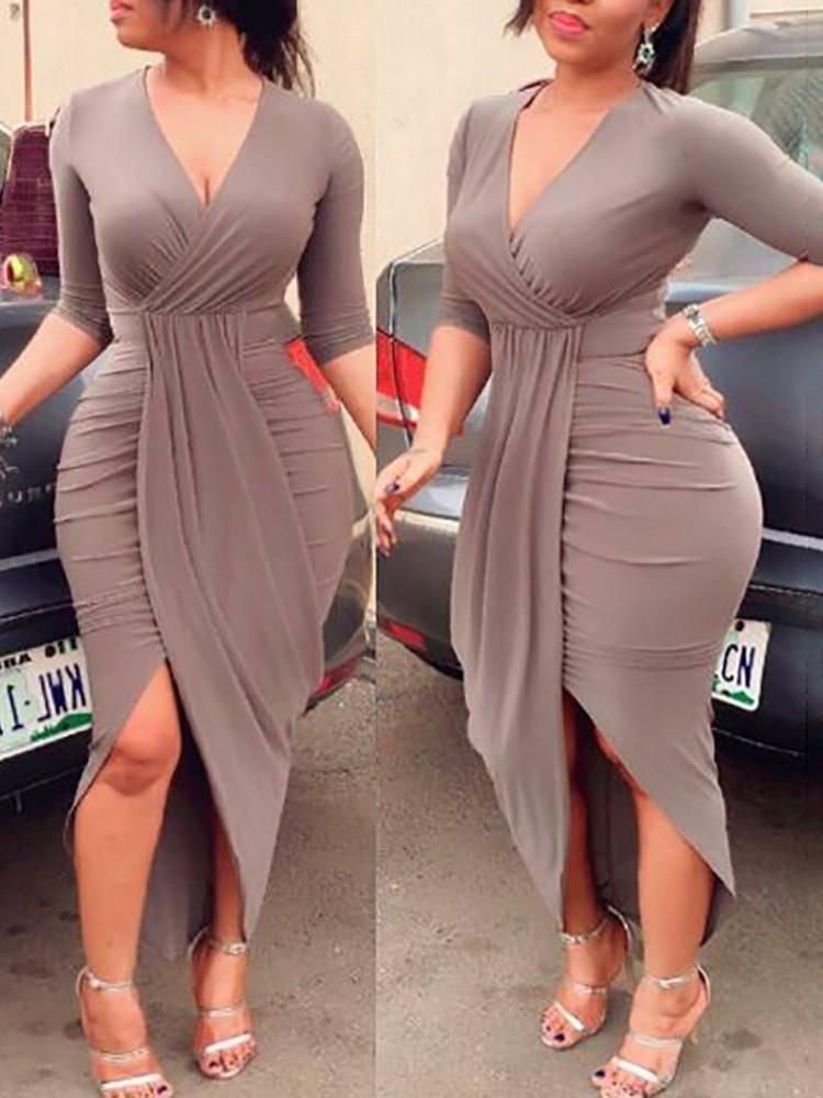 boutiquefeel / Elegant Women Pleated Slit Bodycon Dress