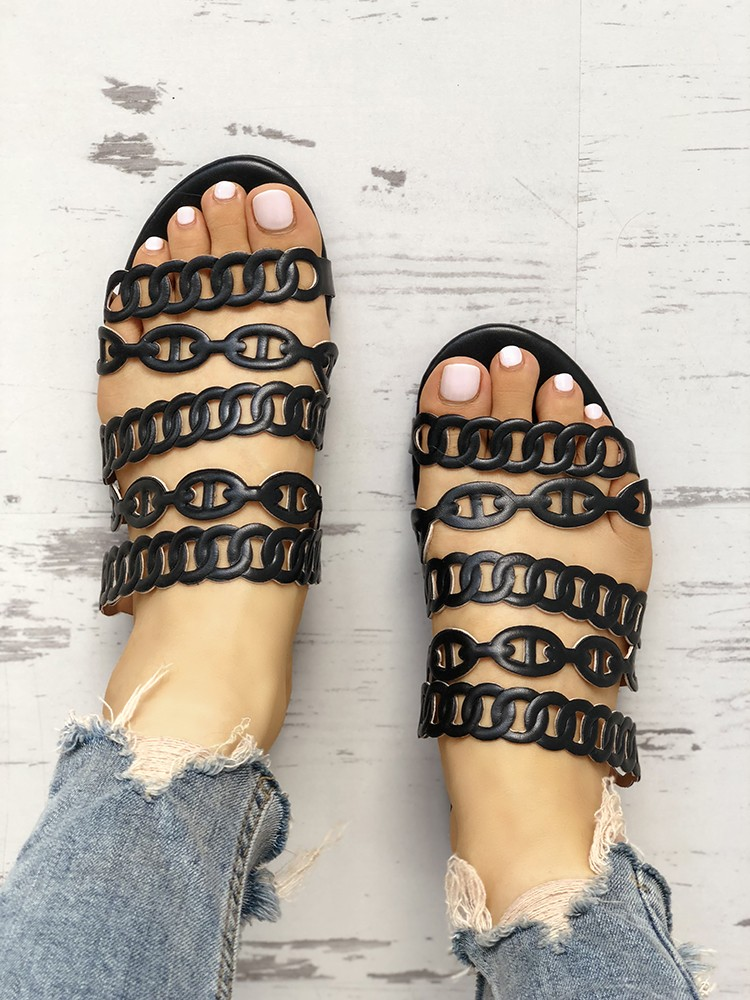 Solid Chain Multi-Strap Hollow Out Flat Sandals
