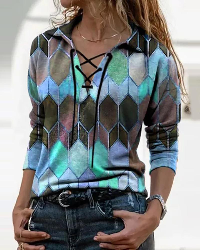 Geo Print Colorblock Lace Up T-shirt