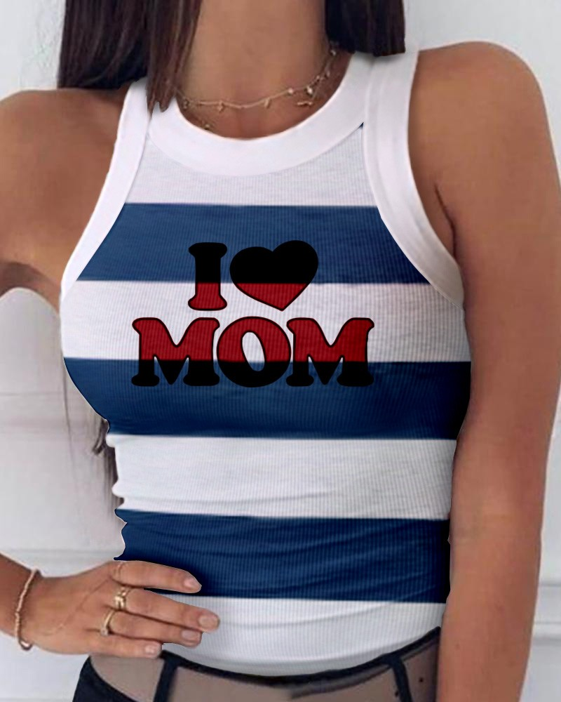 Striped Letter Heart Print Sleeveless Casual Top