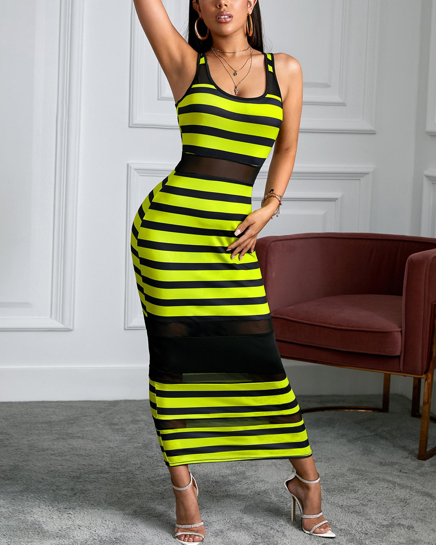 Thin Strap Striped Mesh Dress thumbnail