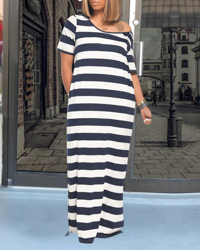 Striped Colorblock Pocket Design Casual Dress thumbnail
