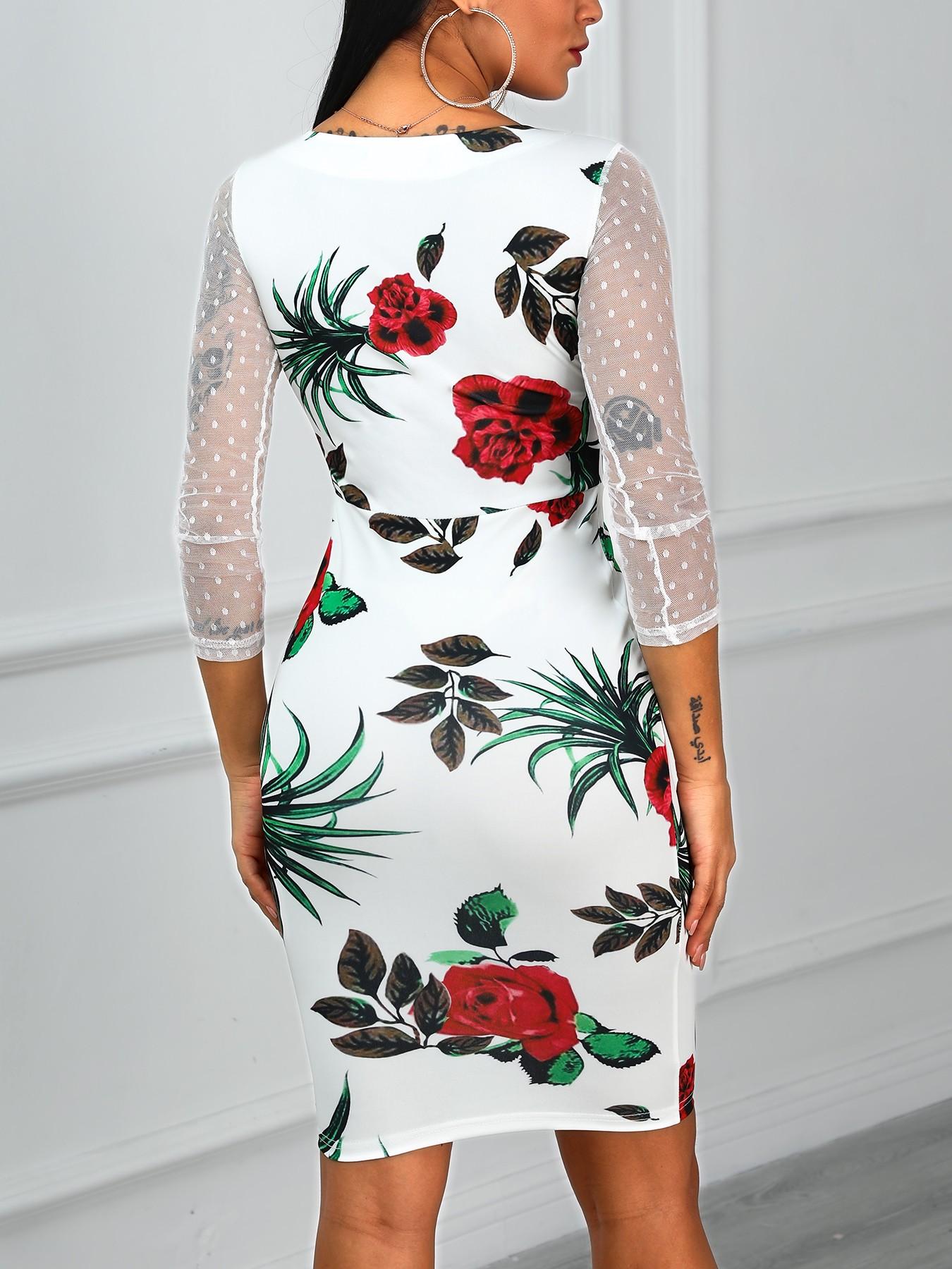 boutiquefeel / Floral Print Mesh Insert Dress