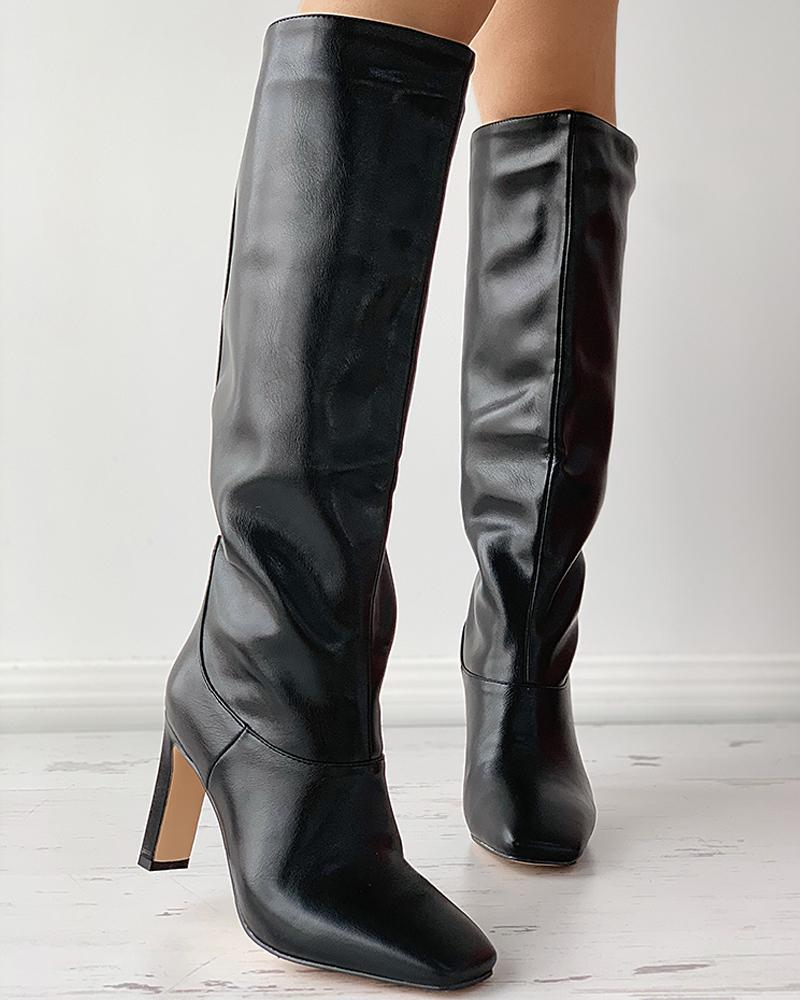 Square Toe Plain Heel Boots