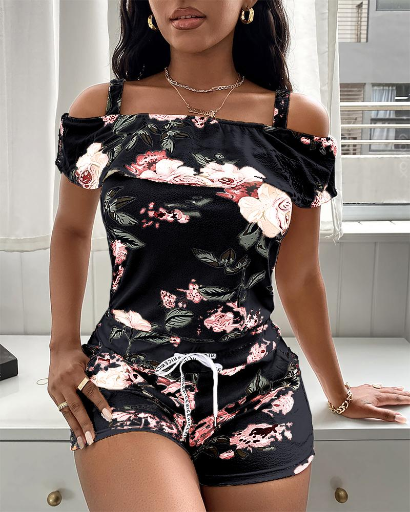 Cold Shoulder Floral Print Top & Drawstring Shorts Set