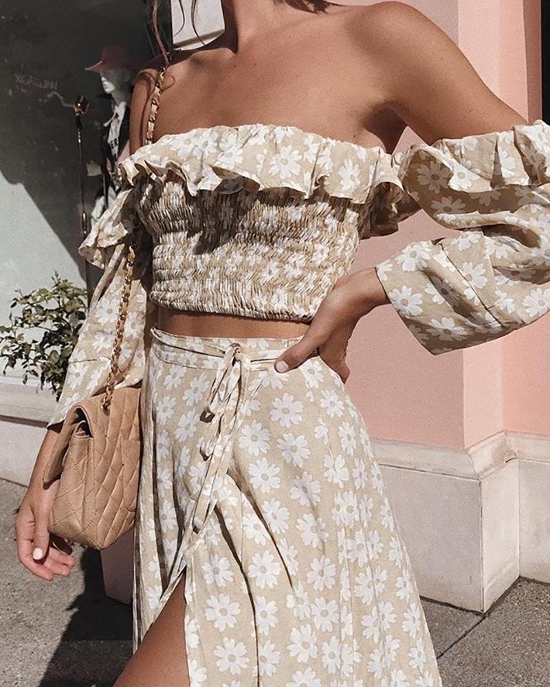 Off Shoulder Daisy Print Frill Hem Top & Slit Maxi Skirt Set