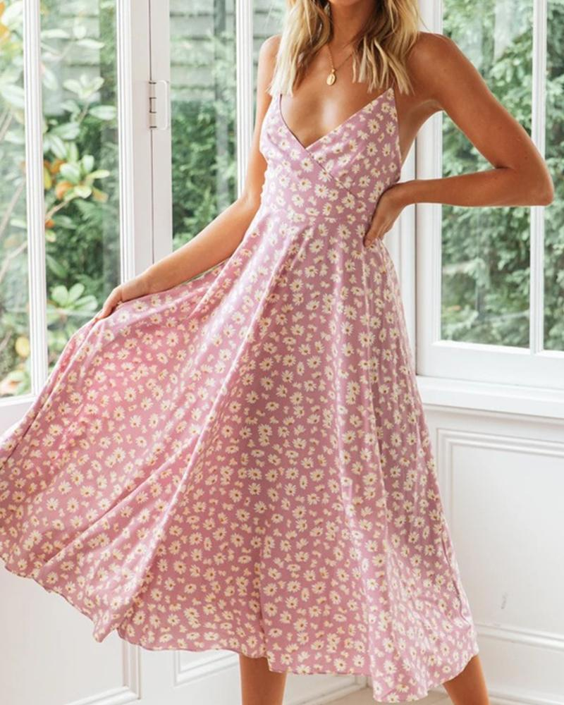 Floral Print V Neck Cami Dress thumbnail