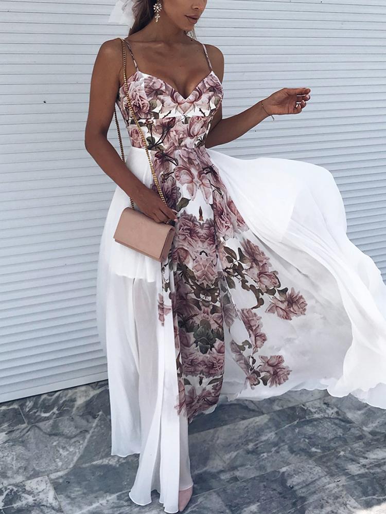 Floral Print Spaghetti Strap High Slit Dress