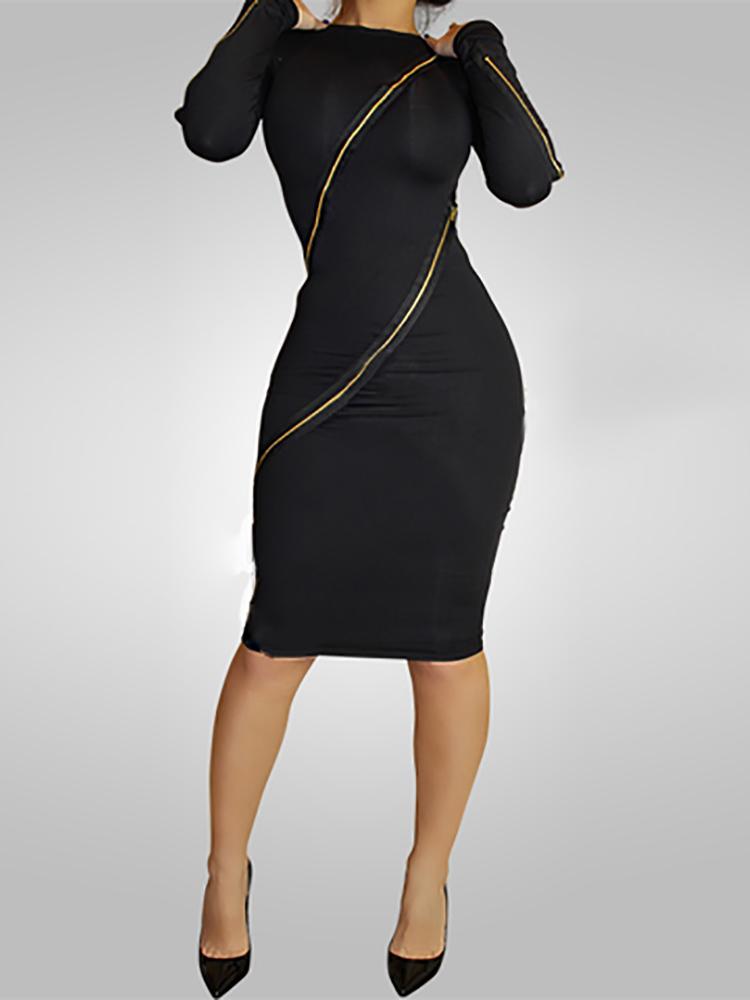 Sexy Long Sleeve Zipper Bodycon Dress