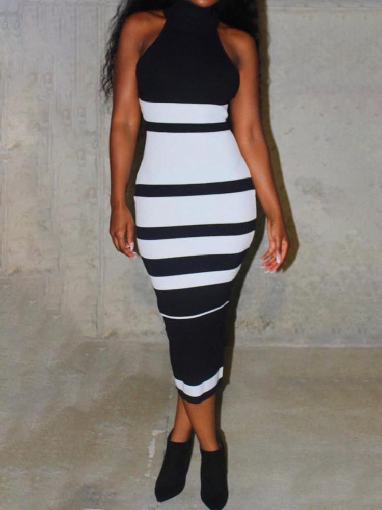 Stripes High Neck Bodycon Dress