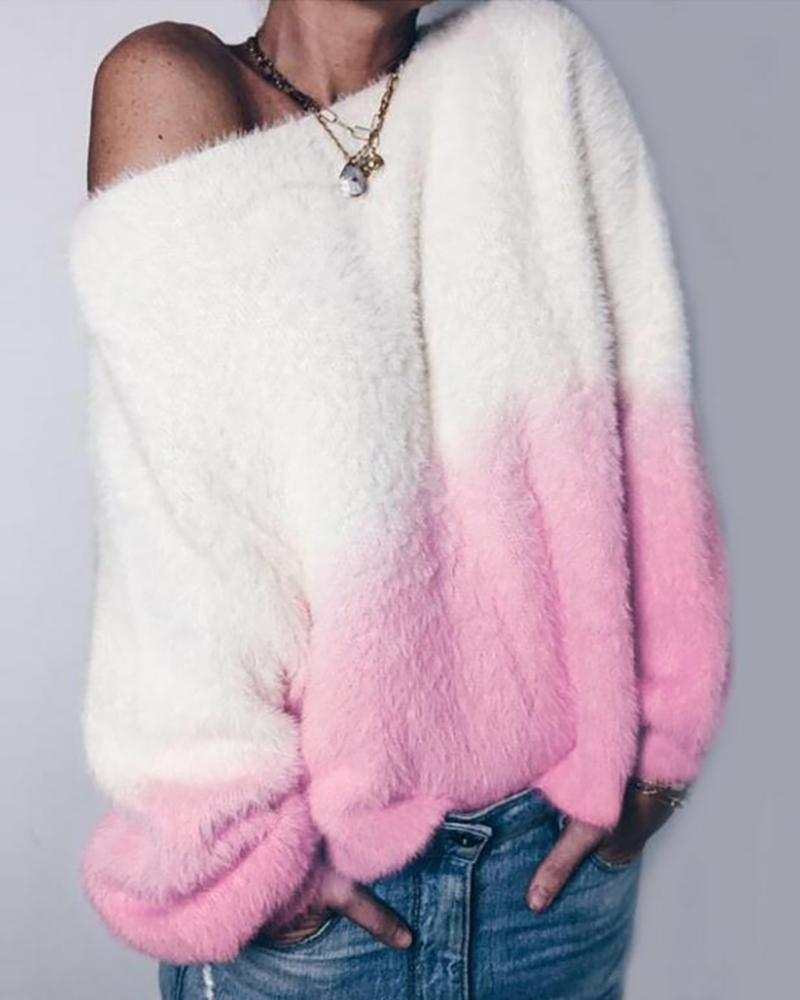 Fluffy Gradient Color Long Sleeve Sweater thumbnail