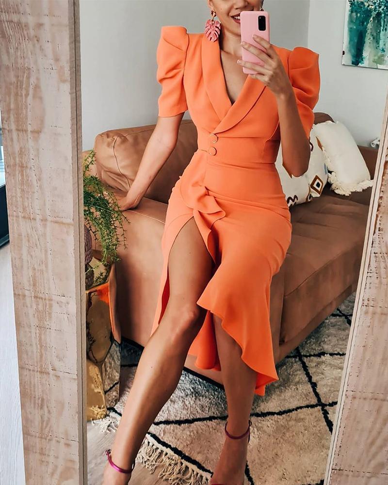 V-Cut Ruffle Hem Slit Wrap Midi Dress, Orange