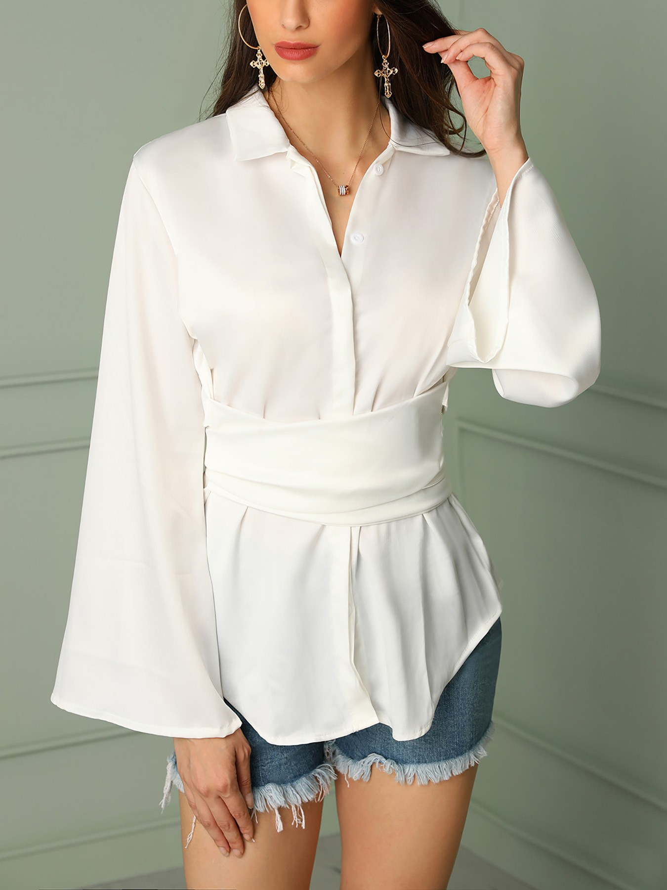 fe38e261 Solid Button Up Flared Sleeve Knot Back Blouse