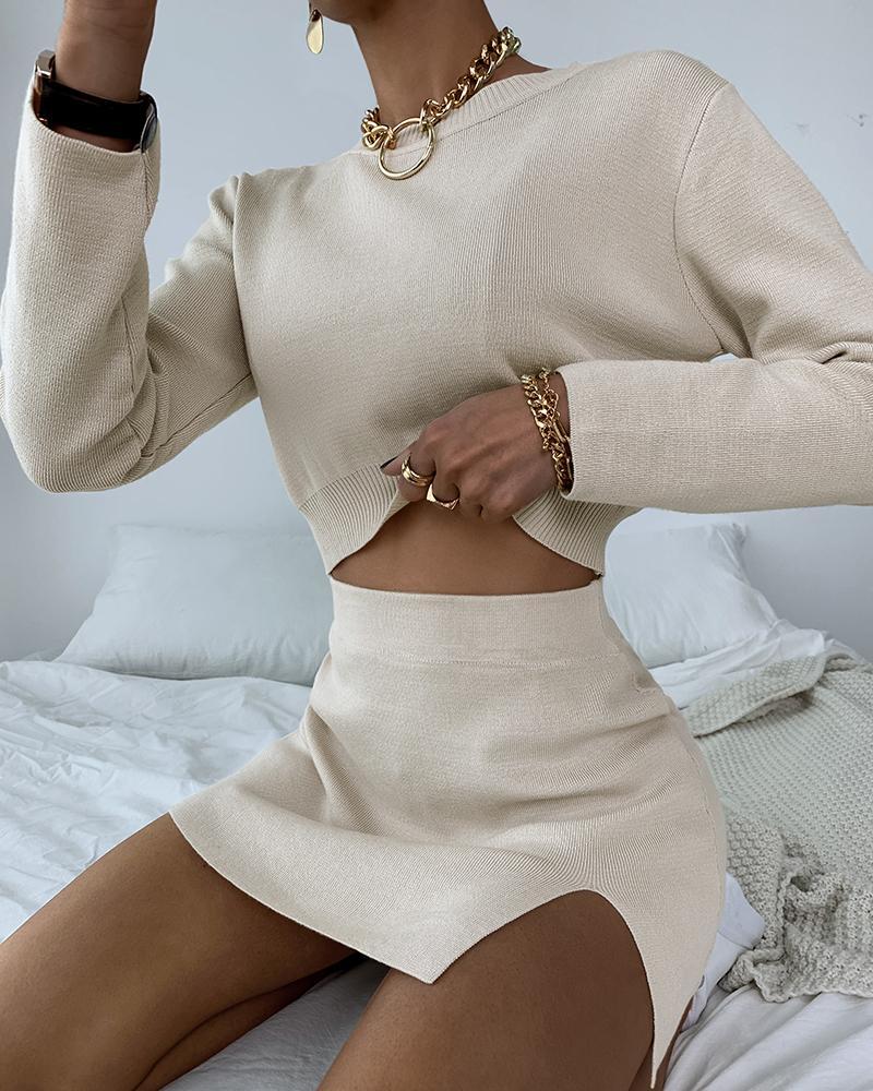 Long Sleeve Casual Knit Top & Slit Skirt Set thumbnail