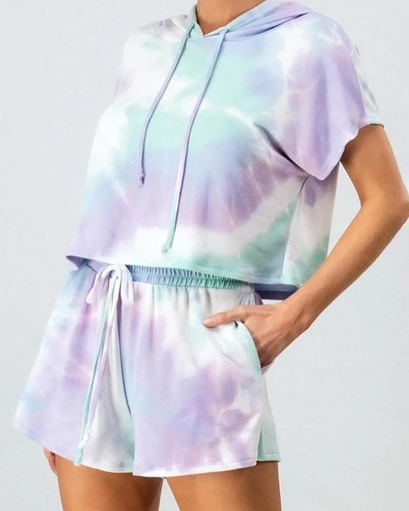 Tie Dye Print Hooded Top & Drawstring Shorts Set thumbnail