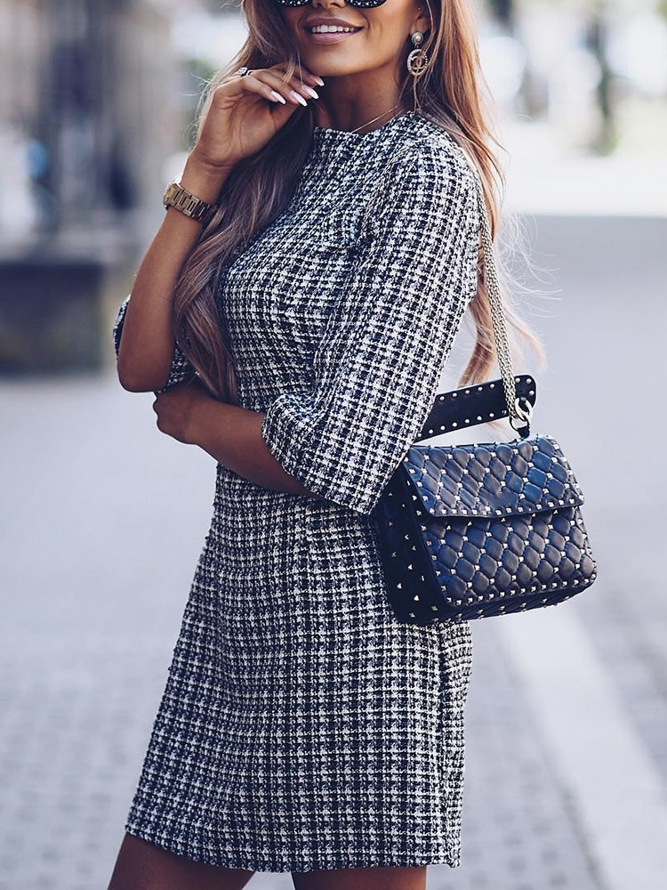 boutiquefeel / Houndstooth Half Sleeve Tweed Shift Dress