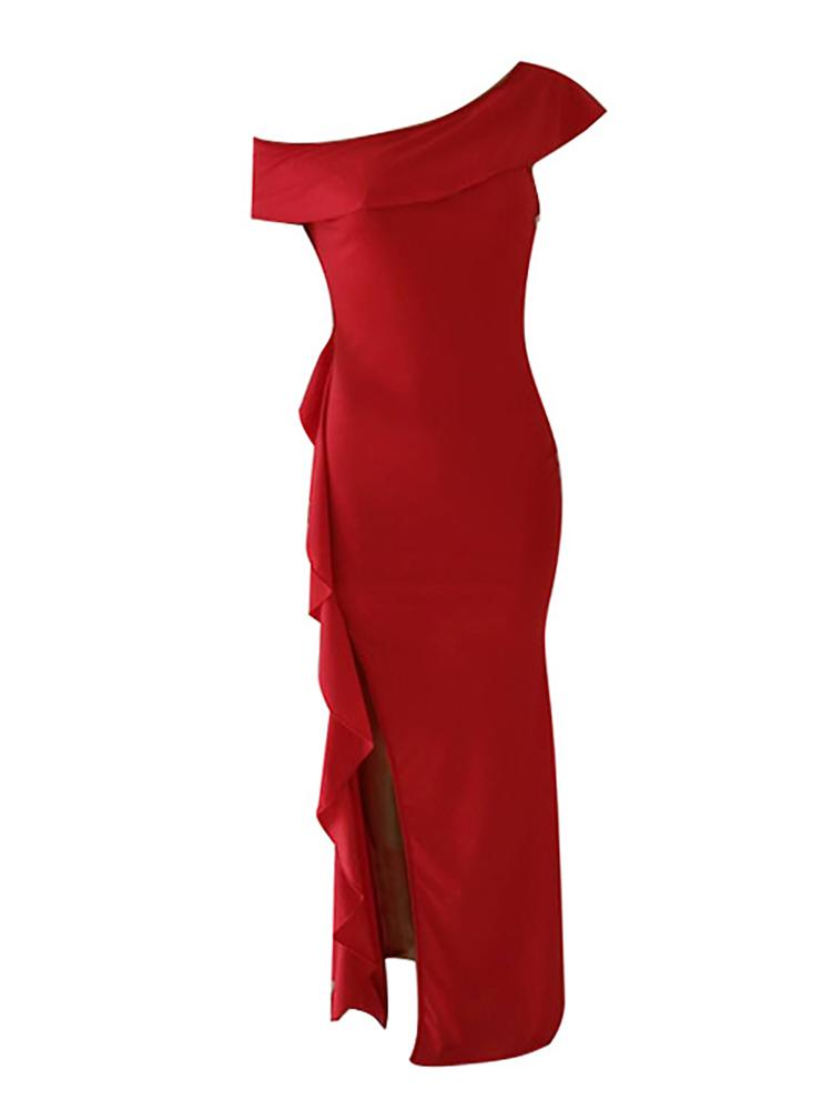 boutiquefeel / Solid Mesh Splicing Ruffles Evening Dress