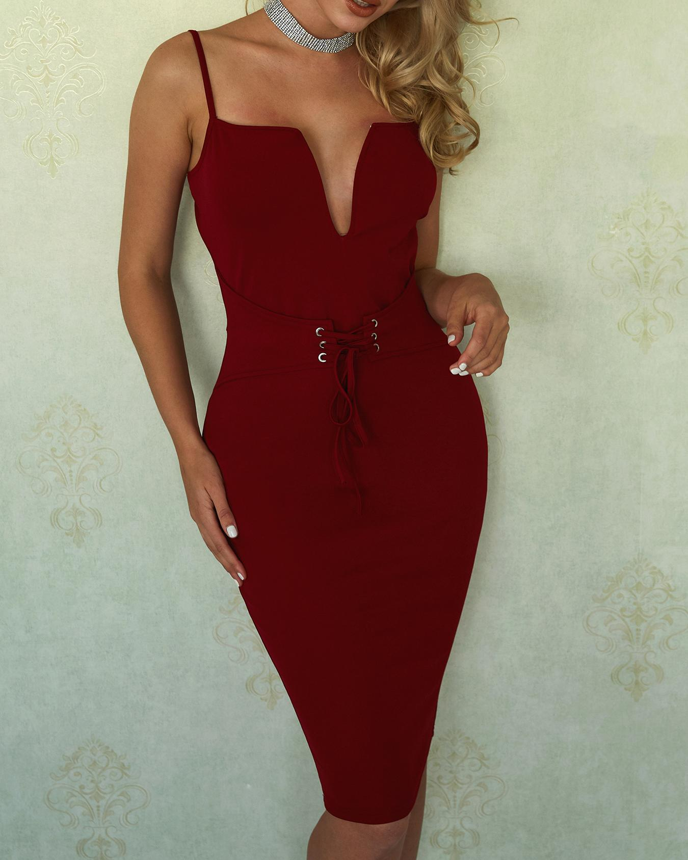 Joyshoetique coupon: Sexy Lace-Up Eyelet Cocktail Party Bodycon Dress