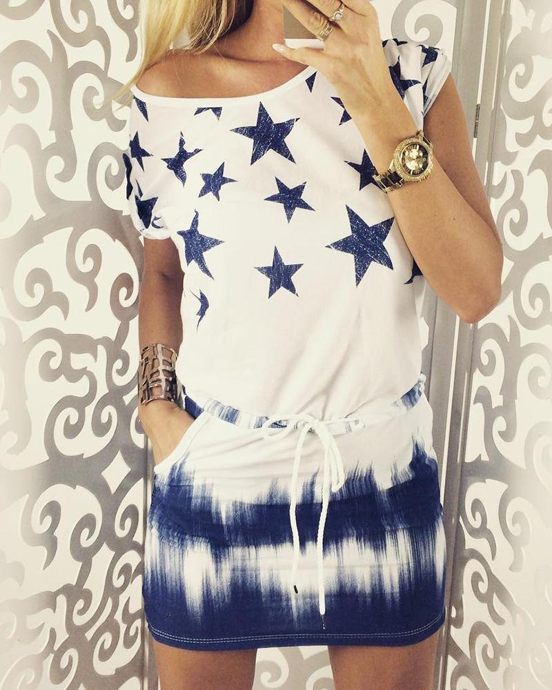 Star Tie Dye Print Drawstring Casual Dress thumbnail