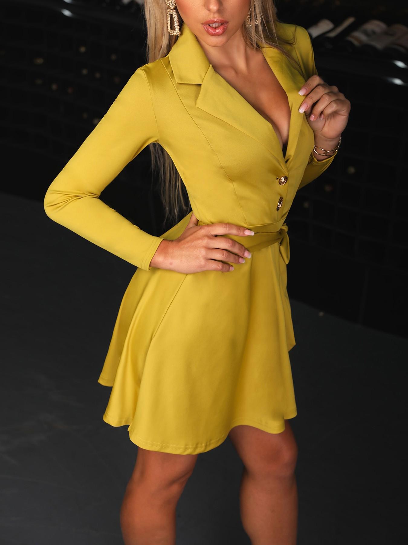 boutiquefeel / Women Belt Pleated Casual Blazer Dress