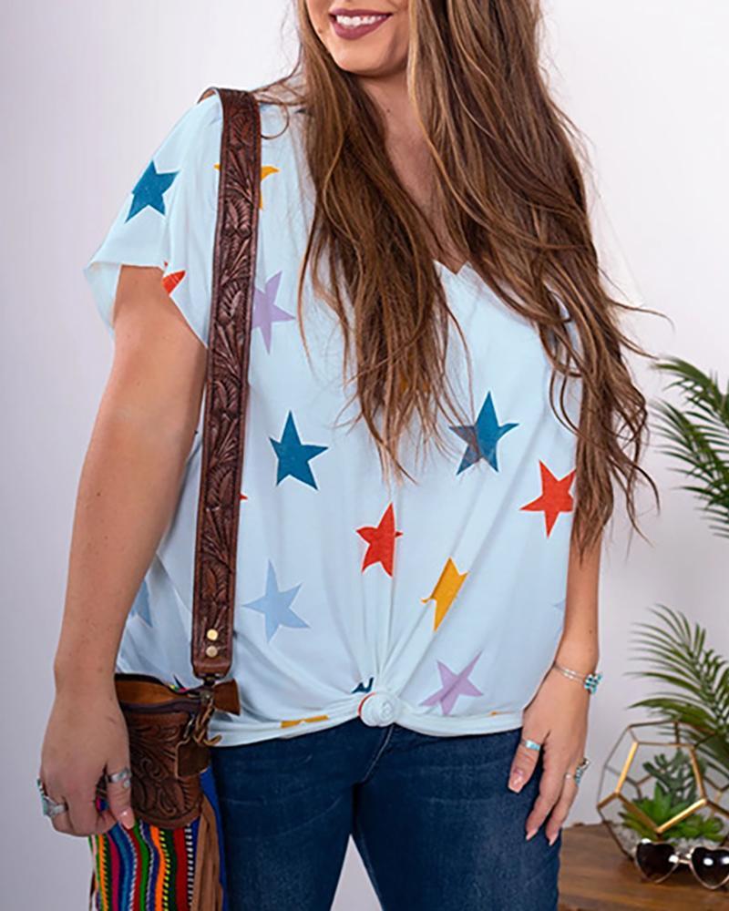 V-neck Stars Print Casual T-shirt thumbnail