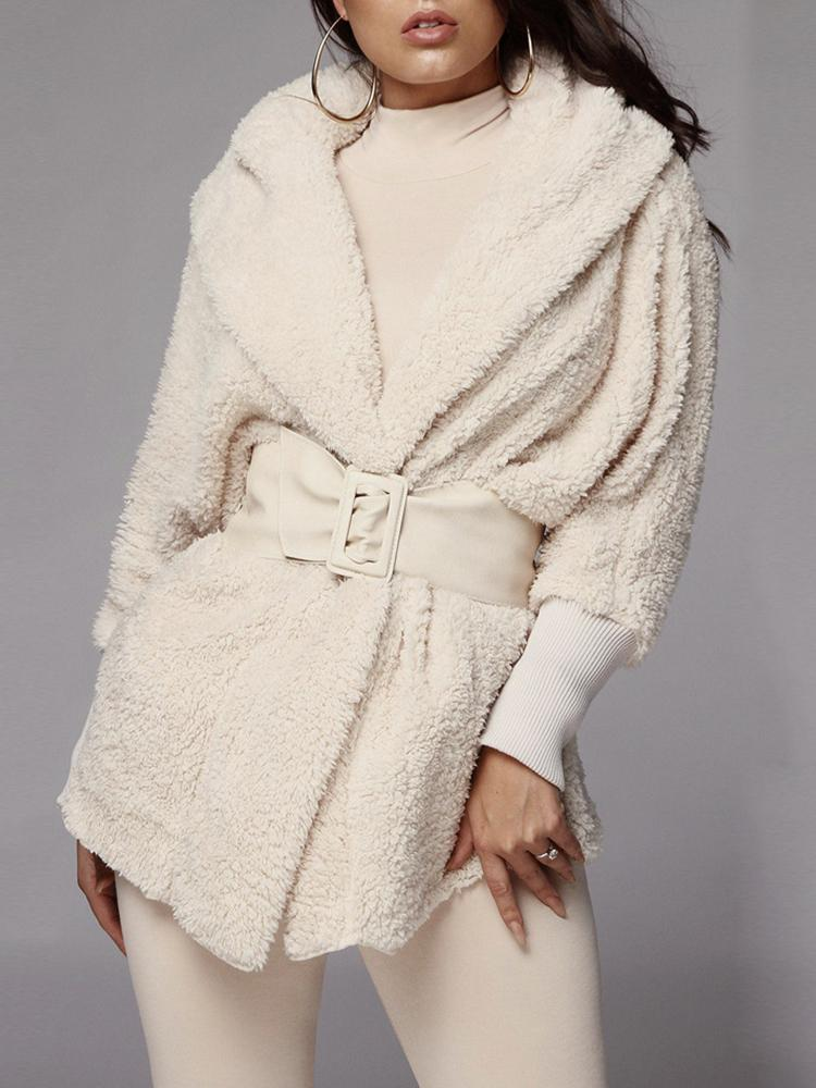 boutiquefeel / Fluffy Hooded Open Front Teddy Coat & Short Sets