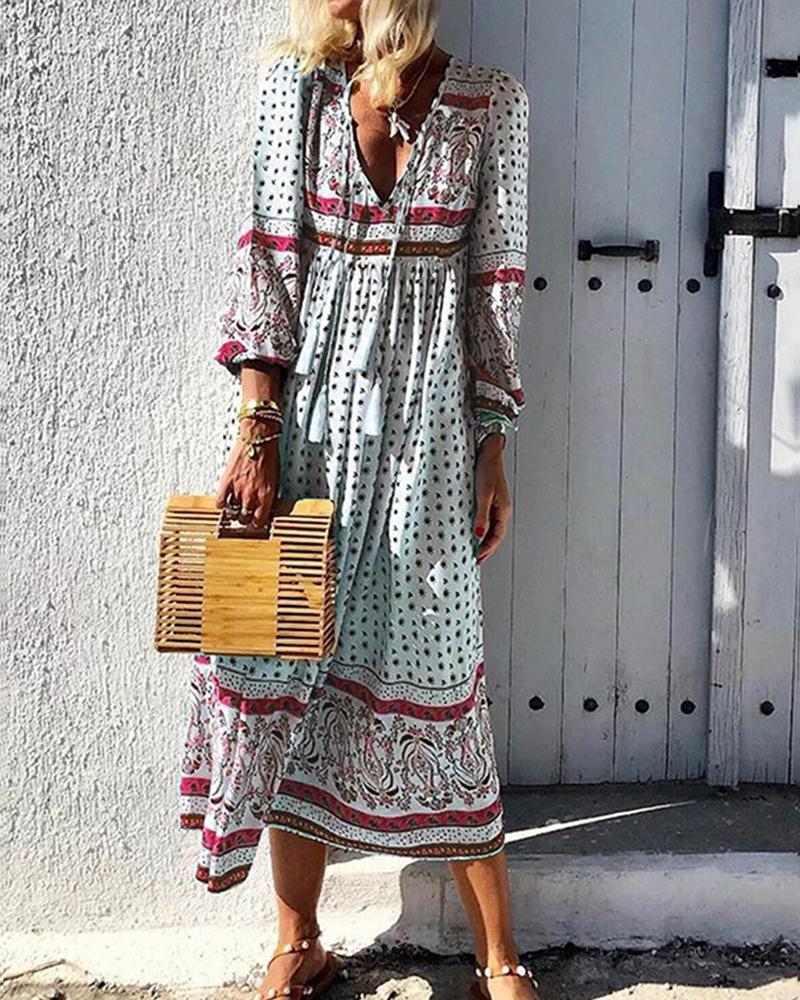 Boho Style All Over Print Long Sleeve Maxi Dress, boutiquefeel, red  - buy with discount