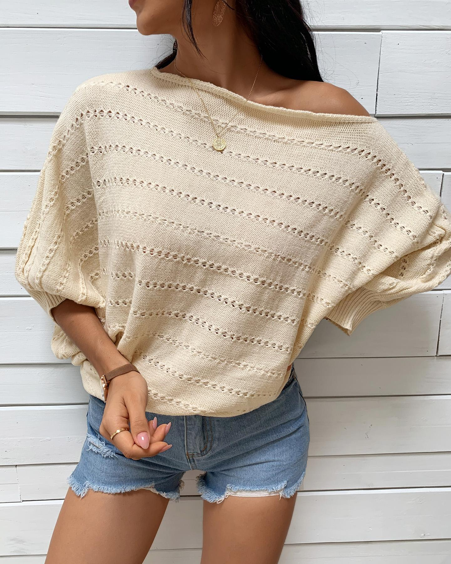Knit Hollow Out Long Sleeve Casual Sweater thumbnail