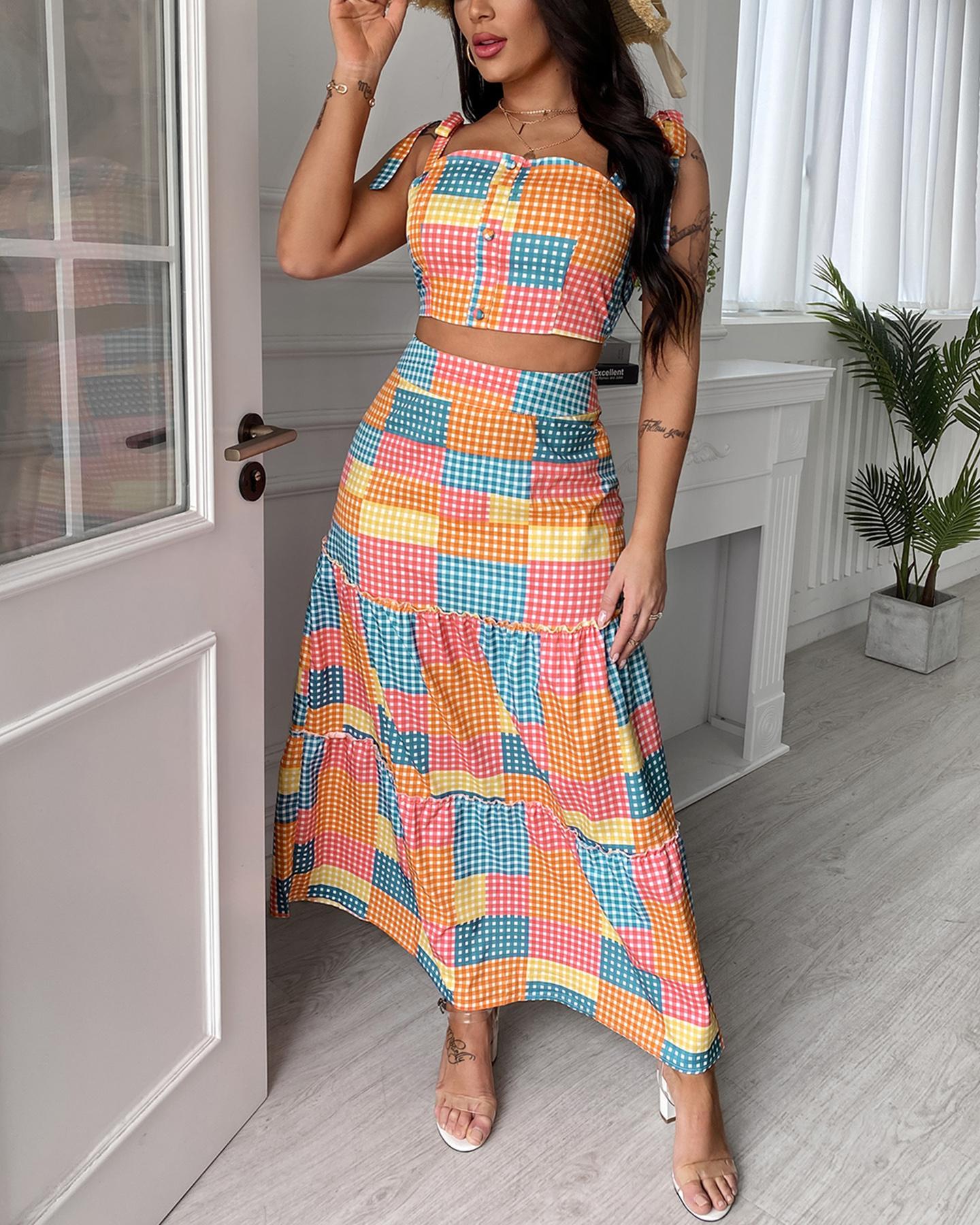 Plaid Colorblock Tied Detail Crop Top & Maxi Skirt Set, Multicolor
