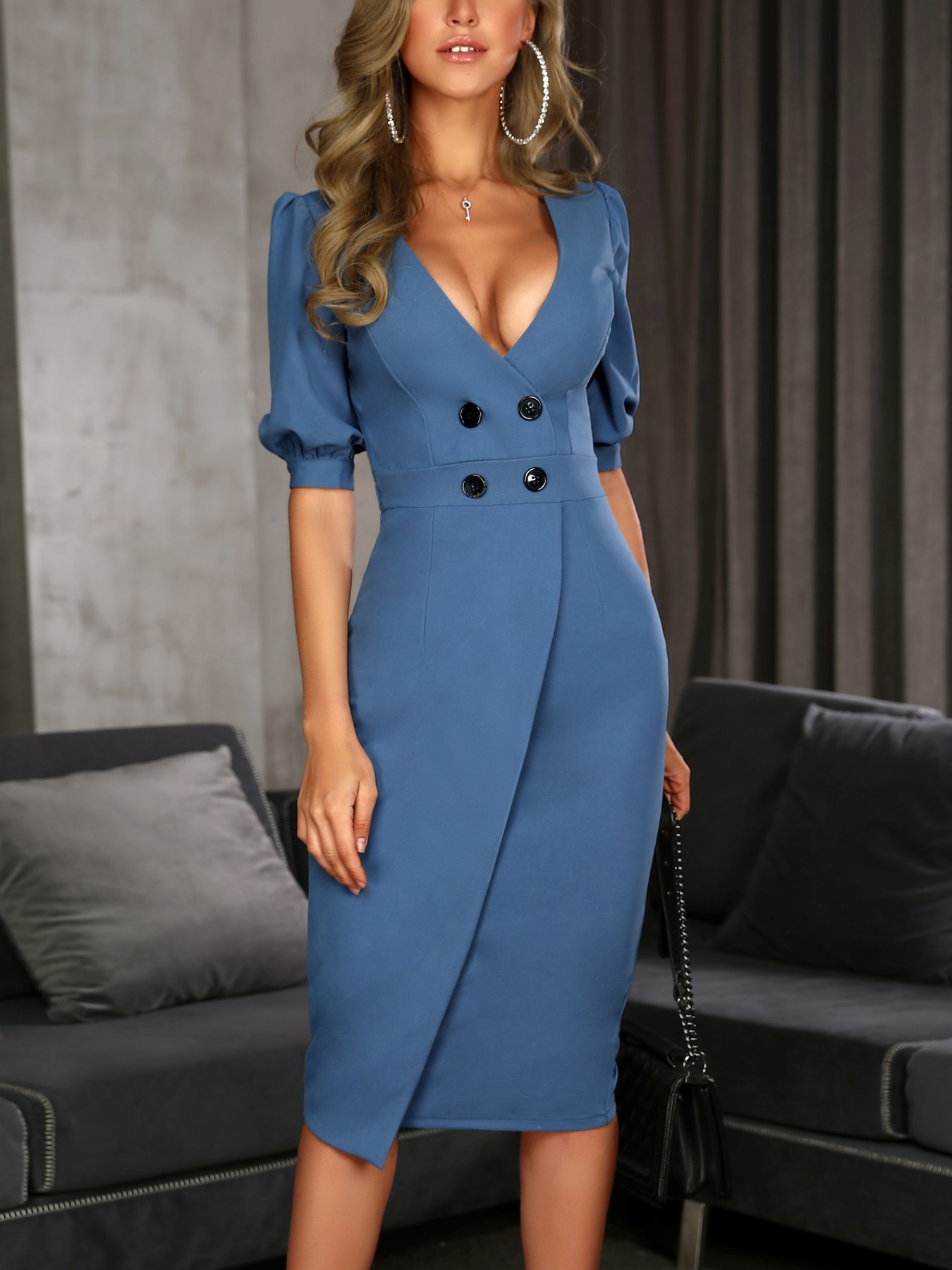 boutiquefeel / Solid Double-Breasted Puff Sleeve Wrap Dress