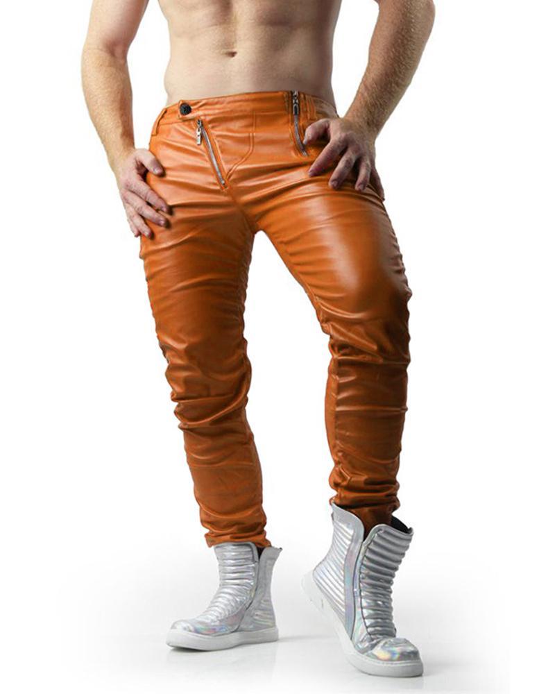 Solid Skinny Zip-up PU Pants, Light brown