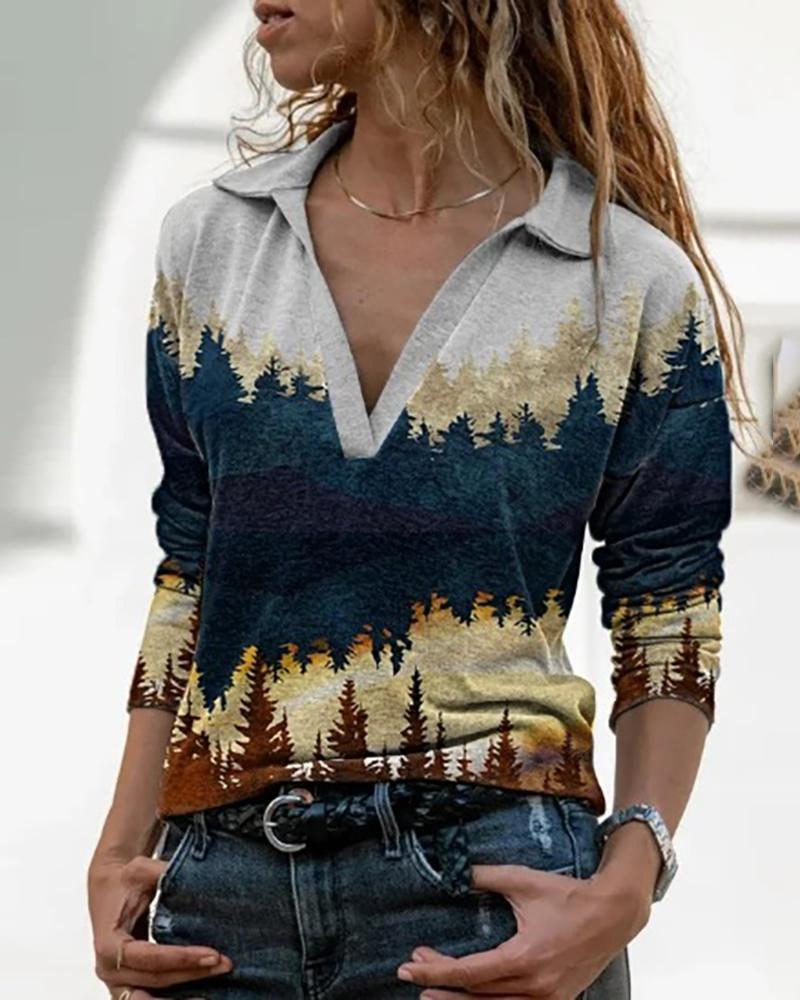 Landscape Print Long Sleeve Women Top, Style6