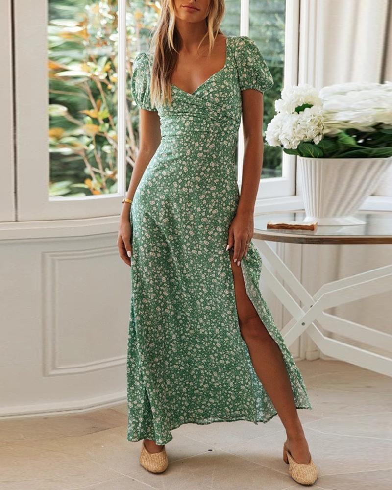 Short Sleeve Retro Print Split Maxi Dress thumbnail