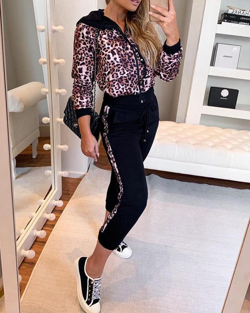 Cheetah Print Zipper Design Hooded Top & Colorblock Pants Sets thumbnail