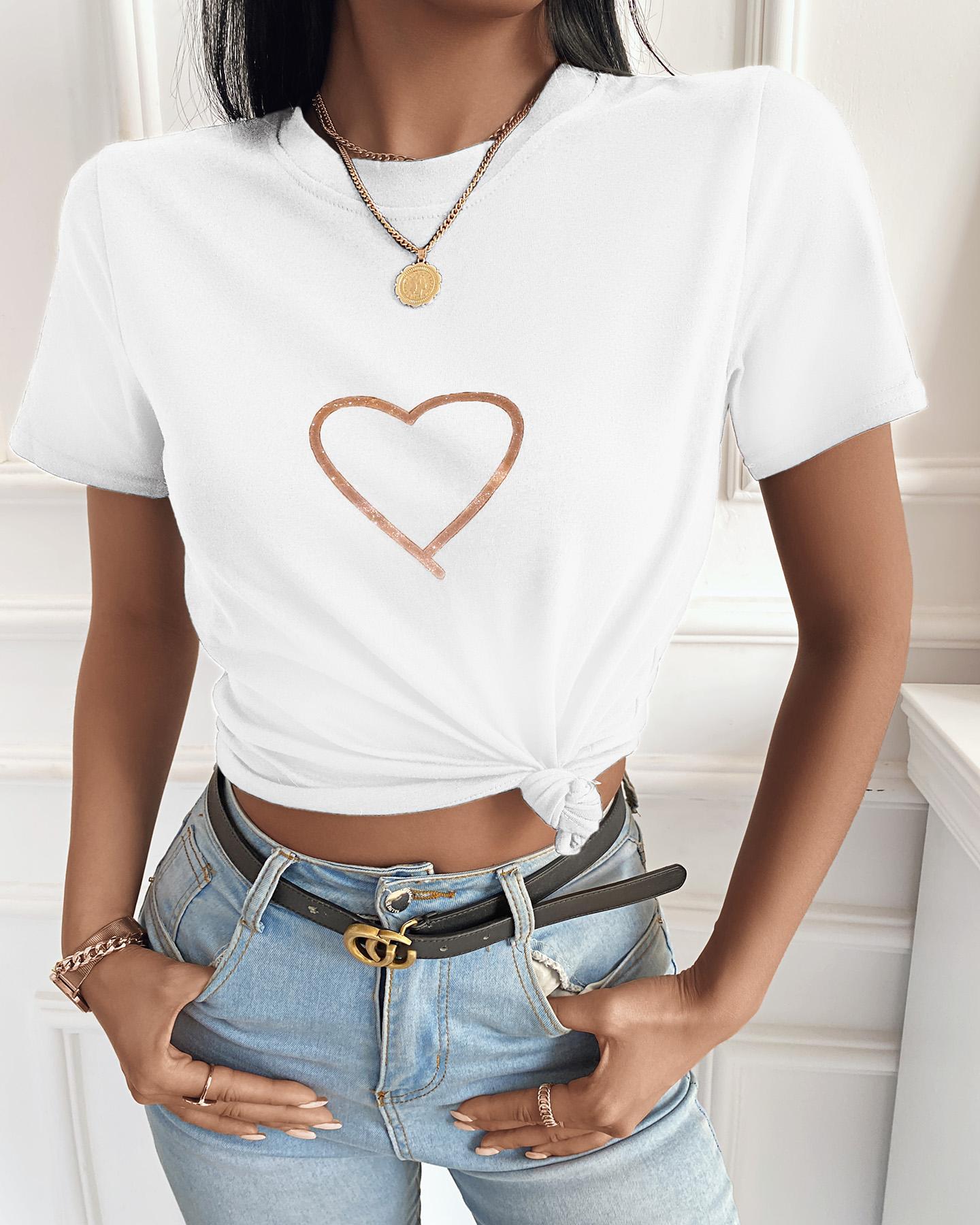 Heart Print Short Sleeve Casual T-shirt