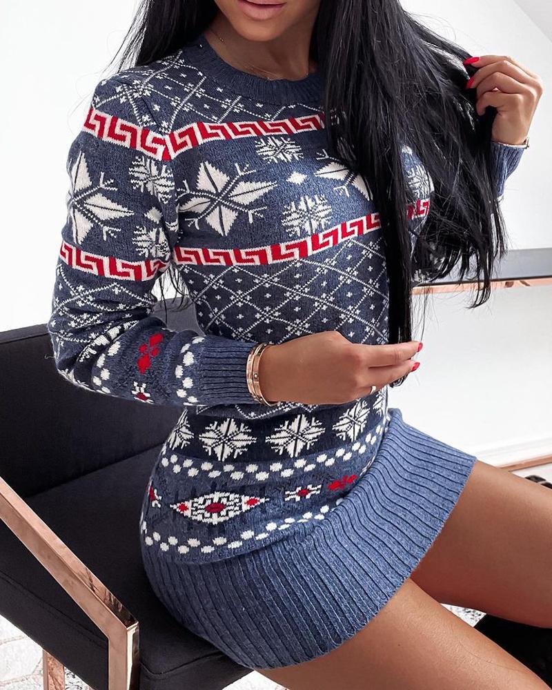 Christmas Snowflake Print Knit Sweater Dress