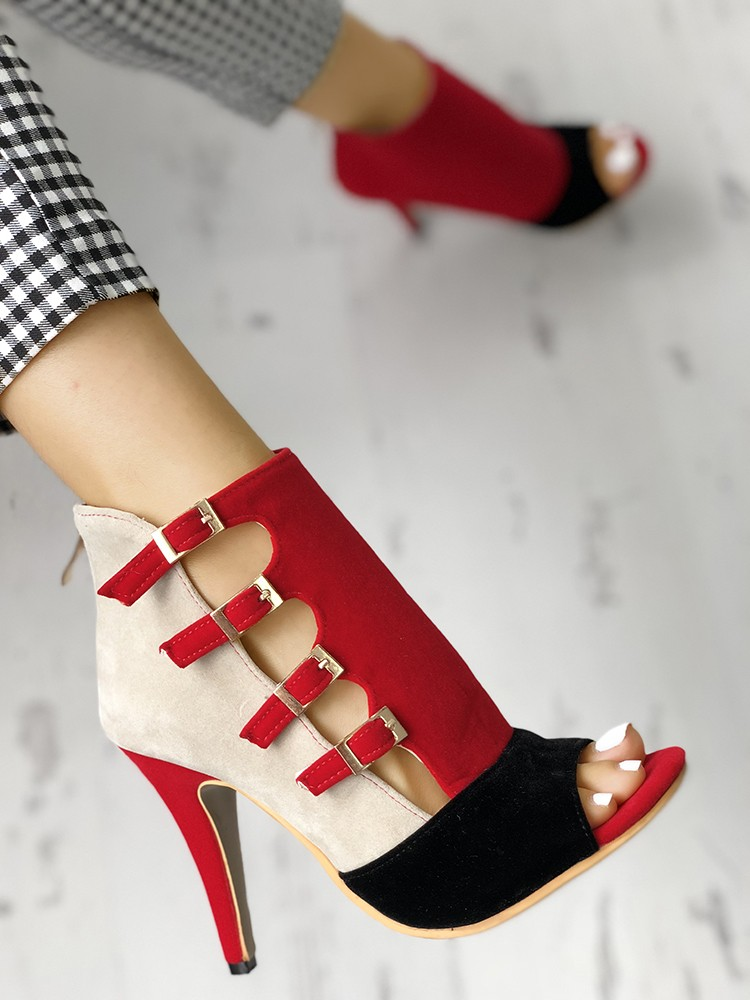boutiquefeel / Colorblock Splicing Hollow Out Buckled Thin Heels