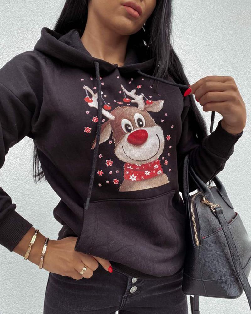 Christmas Moose Print Long Sleeve Hoodie