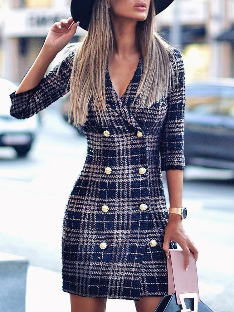 8acc564ba95c Plaid Double Breasted Tweed Blazer Dress