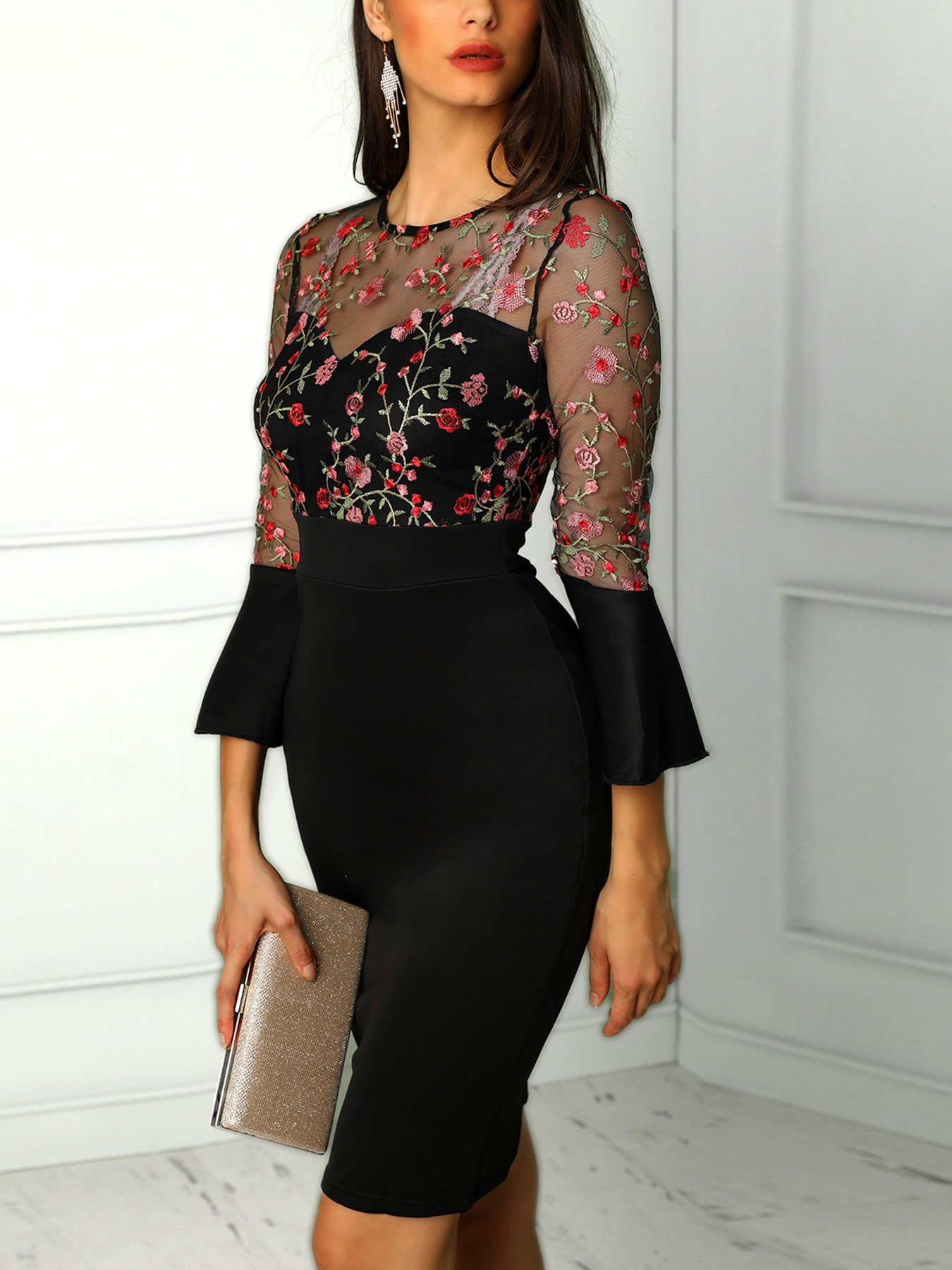 boutiquefeel / Floral Embroidery Mesh Bell Sleeve Bodycon Dress