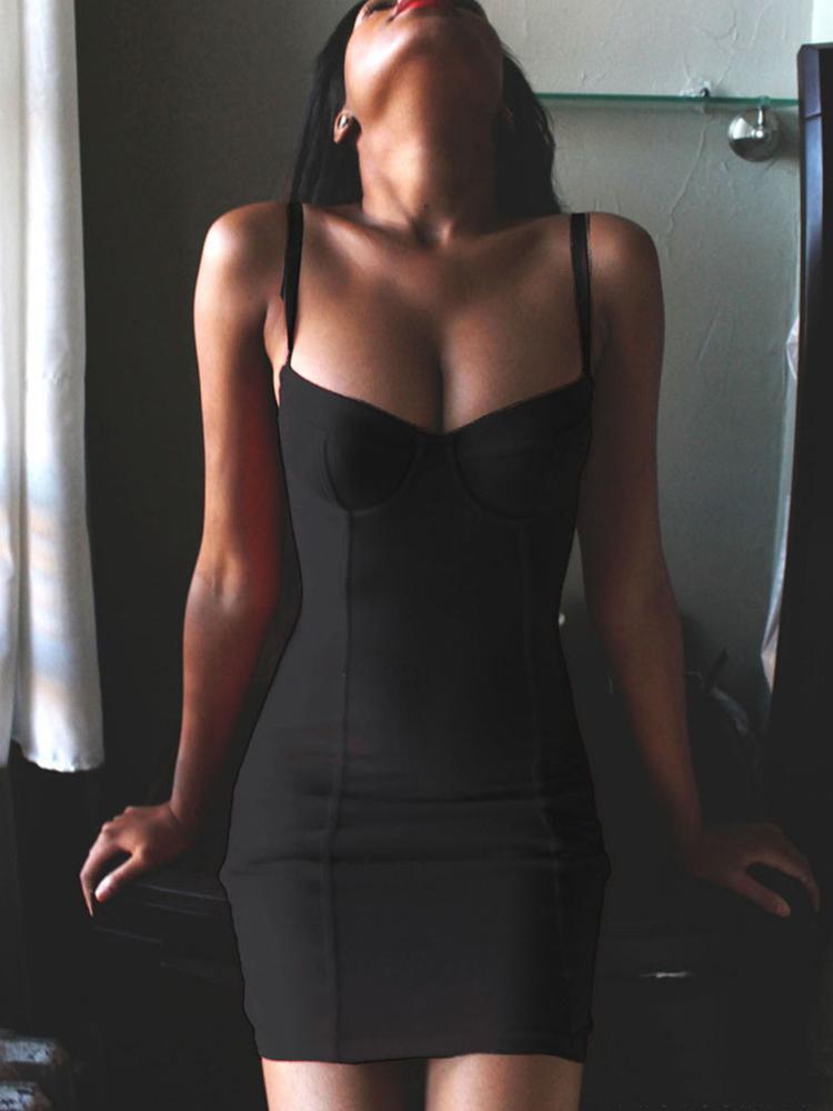 Sexy Sleeveless Spaghetti Strap Bodycon Dress
