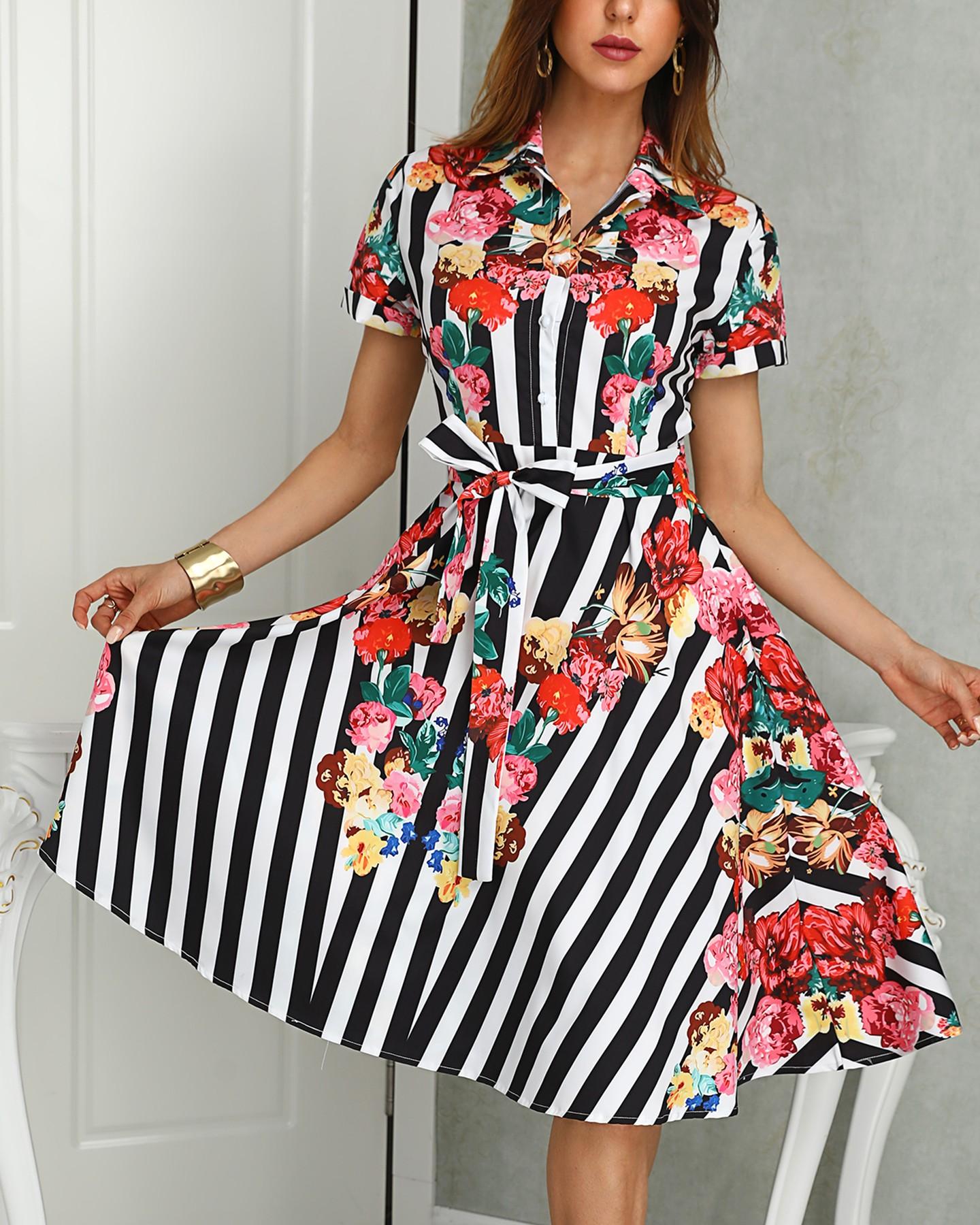 Striped Floral Print Buttoned Shirt Dress