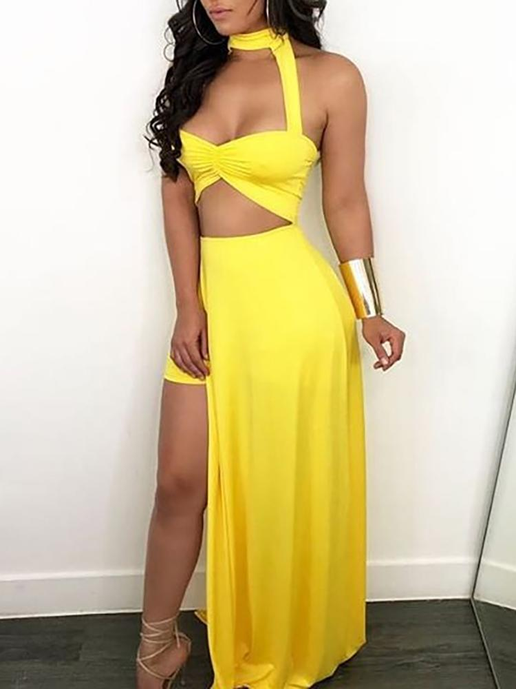 Solid Halter Ruched Cut Out Maxi Dress