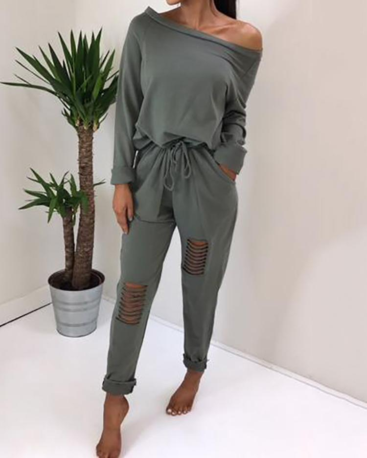 41105eb0d57 Trendy Ripped Skew Neck Tied Waist Casual Jumpsuit Online. Discover hottest  trend fashion at chicme.com