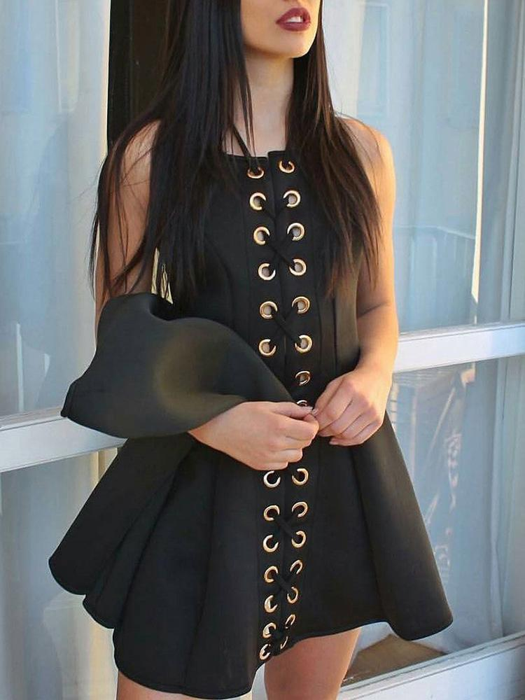 Sleeveless Eyelet Lace-up Pleated Mini Dress